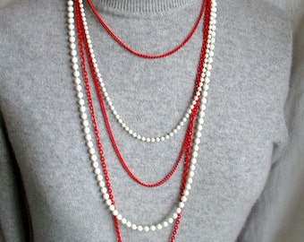 RED / WHITE NECKLACE vtg 1970s runway five strand 23 inch red enamel chain / white beads