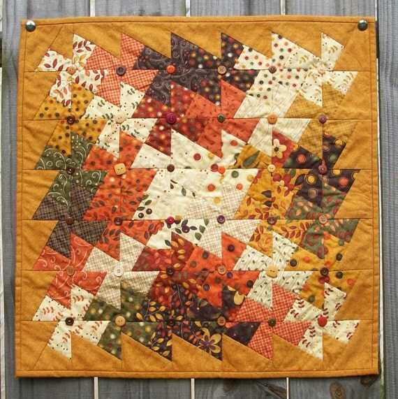 Autumn Wall Hanging Fall Table Topper Button Art Quilt Pinwheels Hand Quilted