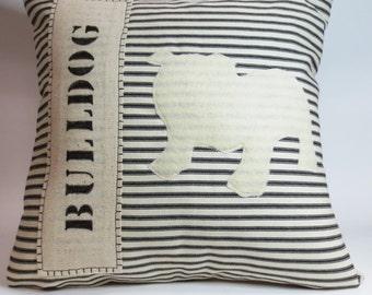 Bulldog Dog Pillow, White Bulldog Pillow, Stripe Dog Pillow, Decorative Bulldog Pillow, Decorative Bulldog Accent Pillow, Bulldog Gift
