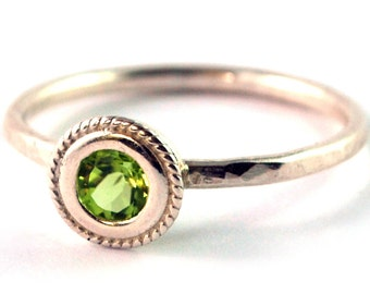 Peridot Rope Edged Bezel Set Sterling Silver Stacking Ring