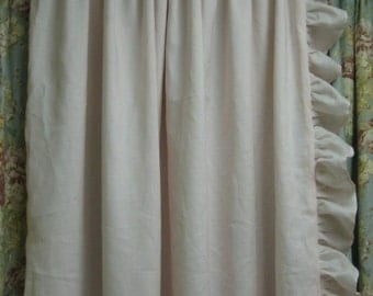 Ruffled Drapery Panel-Lined Single Width Ruffled Panel with Rod Pocket Header-Ruffled Curtain Panel-One Long Curtain Panel