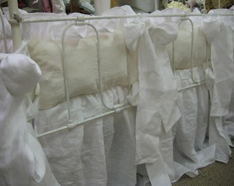 Southern Style Ruffled Washed Linen Crib Bedding----Over-Sized Ruffles and Sashes---Cream and Bright White Washed Linen