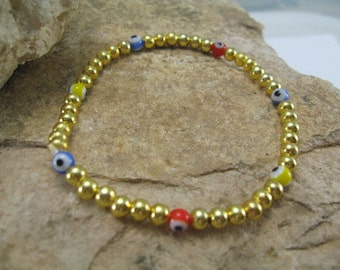 Evil Eye Bracelet, Beaded Bangle Bracelet, Gold Bead Bracelet, Gold Bracelet with Multi Colored Evil Eye Beads,  Minimalist Jewelry