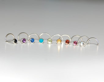 Gemstone and Sterling Silver Nose Ring: Small 2 mm Stud