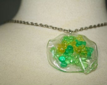 vintage handmade necklace 1970s neon yellow and green plastic