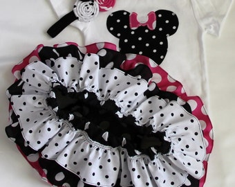 Minnie Mouse birthday disney shirt or bodysuit all around ruffle bloomer skirt w/fabric rolled rosette headband