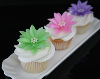 6 Wafer Gerbera Daisies with Edible Sugar Beads in Pink, Lavender, Blue, Lime-green, Yellow colors