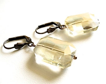 GINGER Estate Inspired Crystal Lever Back Earrings