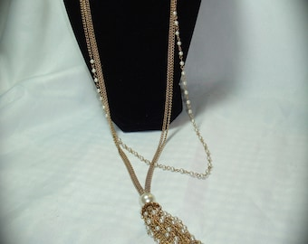 Vintage Triple Chain Faux Pearl Swag Necklace.