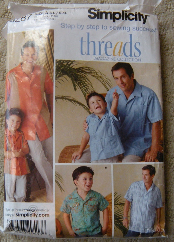 Sewing Pattern Simplicity 4287 Guayabera Shirts for Boys and Men Front ...