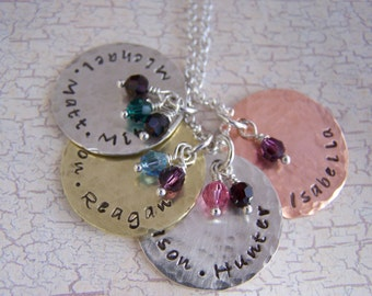 Handstamped Personalized Mixed Metal Mother/Mom Necklace, Sterling, Brass & Copper