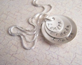Personalized Handstamped  Stacked Layered Necklace, Sterling Silver