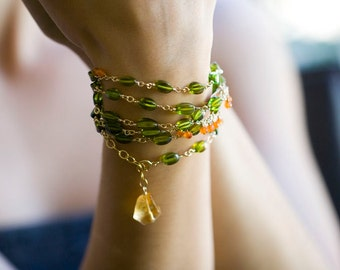 Green Amber Necklace, Baltic Amber - long beaded necklace, long bohemian necklace - Bohemian Wedding - Raindrops - LAST ONE