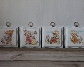 Vintage Wooden Homco Wall Plaques, Nursery Wall Decor