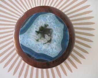Blue DRUZY Inlay Trinket Box - vintage GEODE Jewelry Box - QUARTZ keepsake, stash, memento
