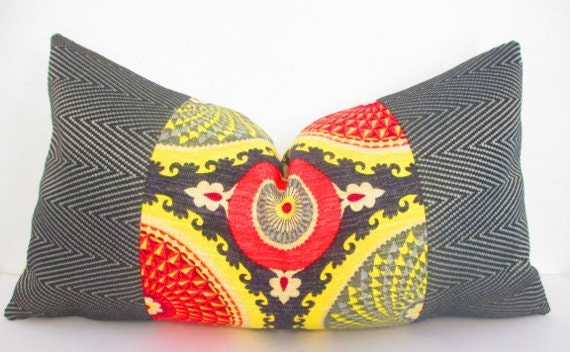 Bohemian Chic Decorative Designer Pillow Cover, Long Lumbar Pillow, Black, Red, Mustard Yellow Cushion