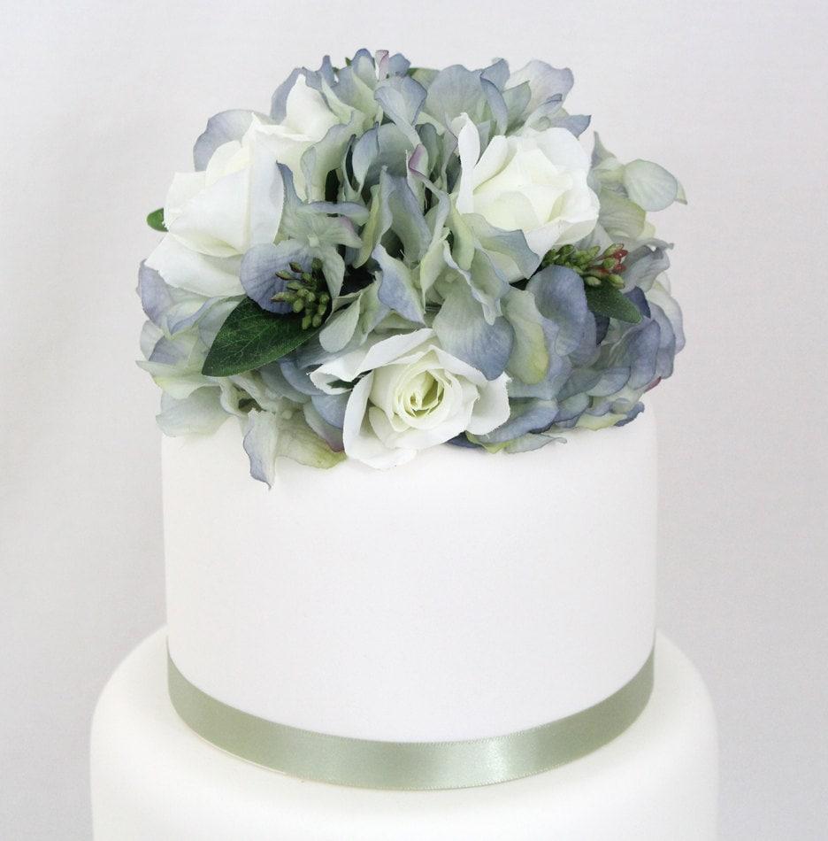 Wedding Cake Topper Blue Hydrangea White Rose Silk Flower