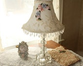 Antique Lace and Ribbon Work Shade on Vintage Crystal Lamp SO Romantic