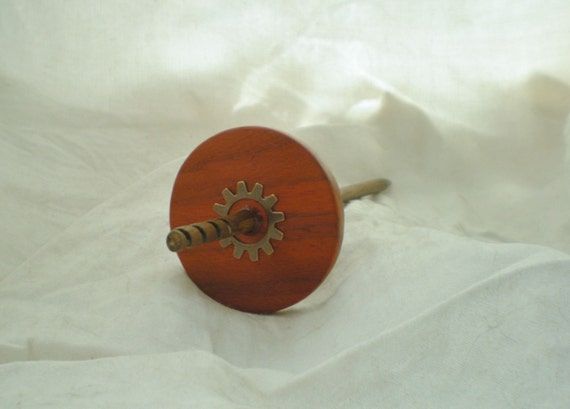 Spiral Hook Drop Spindle Padauk and Walnut laceweight top whorl gear steampunk 16 g