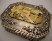Jewelry Metal German Silver Box - Ornate - Inlay White Yellow - Amber Baltic Genuine - Vintage 1975 Year