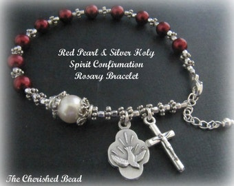 Red Pearl & Silver Confirmation Catholic Rosary Bracelet with Holy Spirit Charm