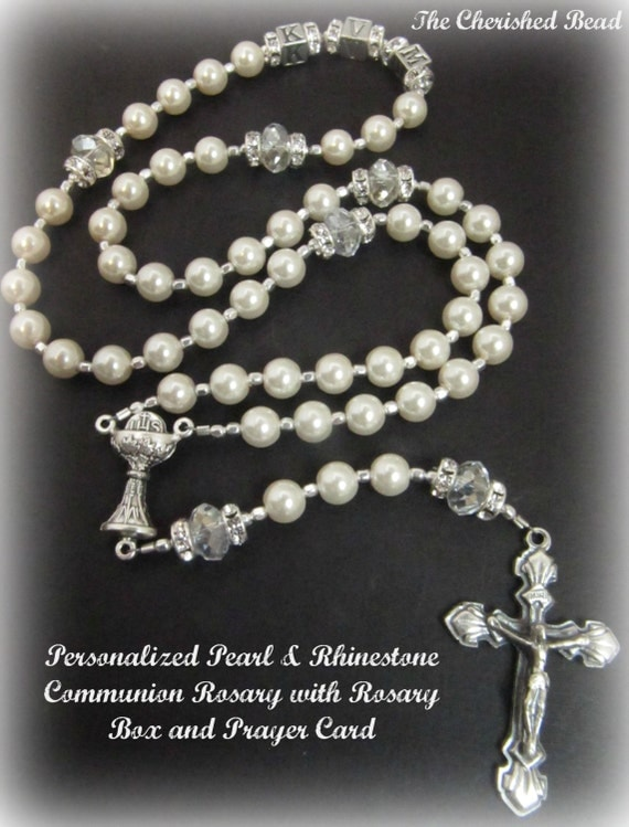 Custom Listing ONLY - Personalized Catholic Communion Pearl Crystal and Rhinestone Rosary with Letter Beads