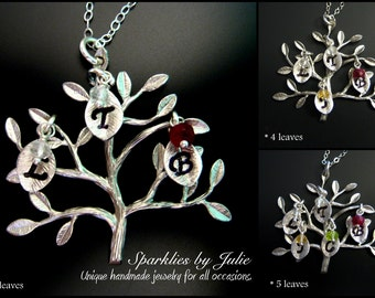 SILVER Birthstone Family Tree Necklace - Rhodium Plated Pendant, Initial Leaf Charms, Up to 5 Initials & Birthstones, Mother or Grandmother