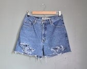 10 Dollar Sale Vintage 90s ROCKSTAR Cut Off Denim Shorts - Women M - Destroyed