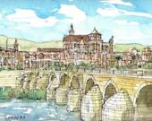 Cordoba Bridge Spain art print from an original watercolor painting