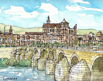 Cordoba Bridge Spain art print from an original watercolor painting