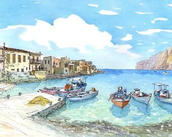 Mani Gerolimenas Port  Peloponnese Greece art print from an original watercolor painting