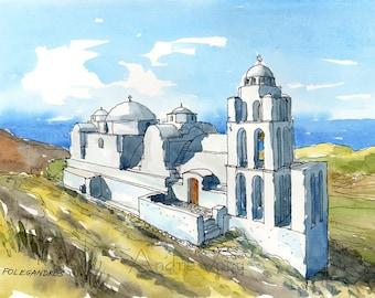 FOLEGANDROS ISLAND Greece art print from an original watercolor painting