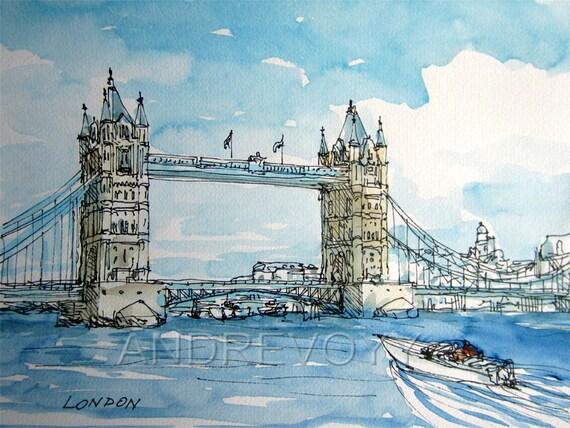 London Tower Bridge West Side art print from an original watercolor painting