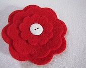 "Recycled Felt Flower Pin 3"" Bright Red"