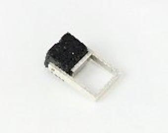 Handmade modern minimalist sterling silver ring with black lava stone
