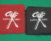 Earth First Stone Axe & Monkeywrench Patch - Red or Black -  Nature, Environment Direct Action Protest, radical environmentalist, treesit