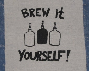 Brew It Yourself Patch, Small - Black on White - homebrew beer patch with carboys do it diy brewer wine kombucha organic hops homebrewer