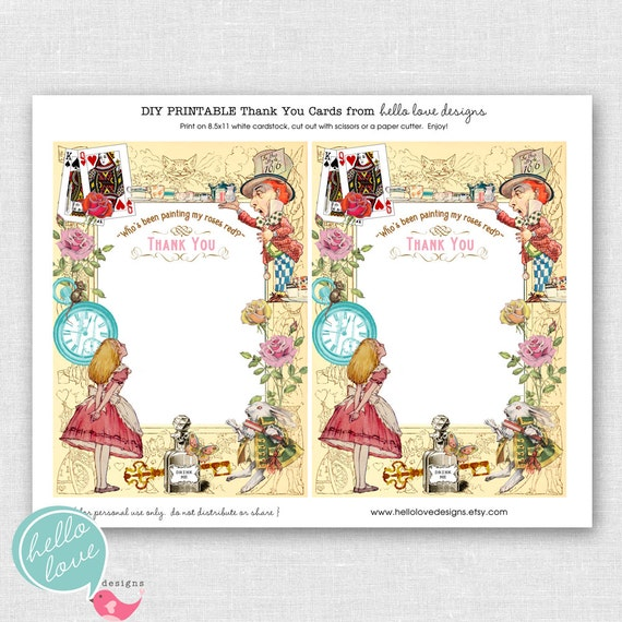 ... in Wonderland Printable Party Thank You Cards by hello love designs