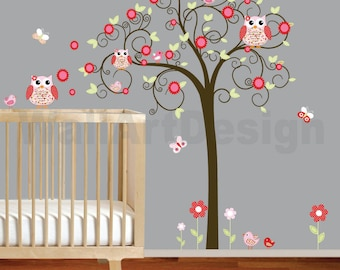 Girls Swirl Tree Wall Decal Nursery Vinyl Wall Stickers red Flowers Owls Curl Tree Butterflies
