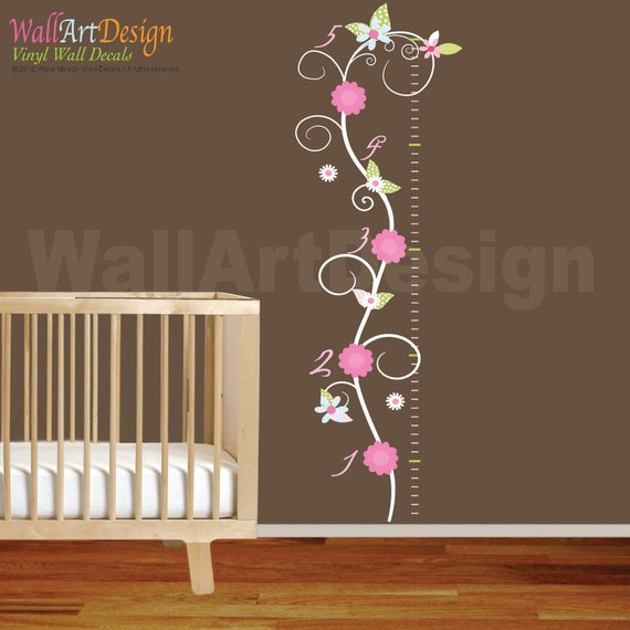 Vinyl Wall Decal Swirl Growth Chart Set with Flowers Girl Nursery