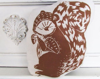 Plush Squirrel Pillow. Hand Woodblock Printed. Choose Any Color. Made to Order.