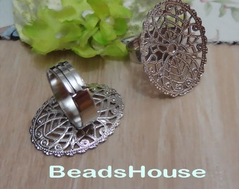 10%off  - 4pcs Adjustable Silver Plated Brass Ring Base (23x30 mm).NICKEL FREE