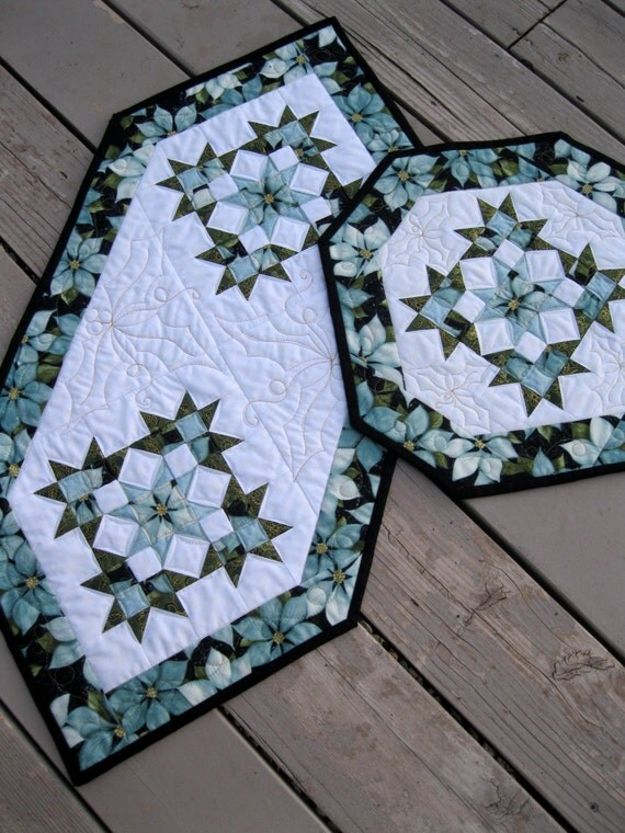 RESERVED Christmas Ice quilted table runner and centerpiece in icy blue, green and black
