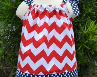 Patriotic Baby Dress, red chevron Pillowcase Dress, Fourth of July baby outfit, July 4th toddler Outfit, Memorial Day Outfit