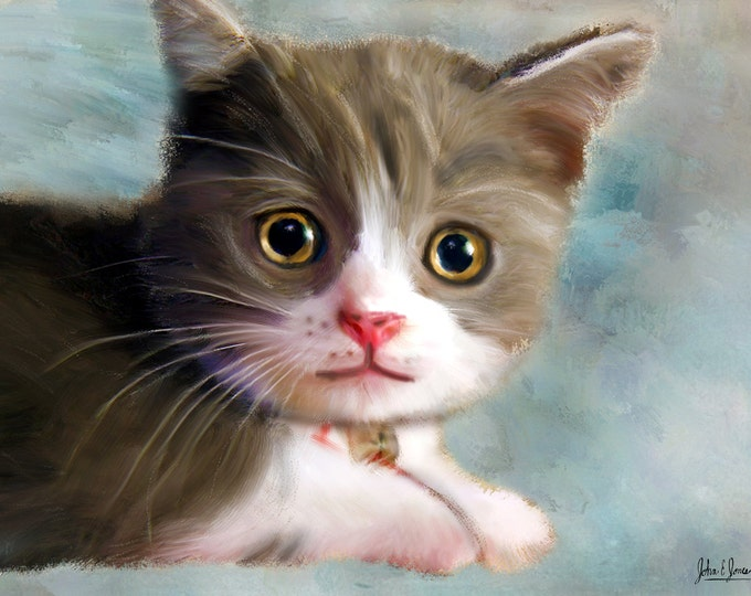 Unique Gift Kitten Oil Painting Pet Lover Wall Art Photo Canvas 16x20