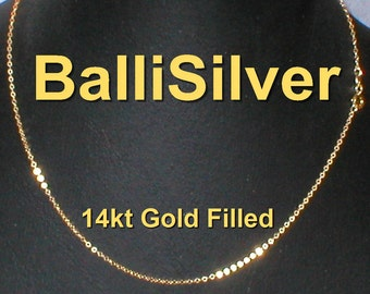 22 inch 56 cm 14kt Gold Filled Fine Flat CABLE Chain NECKLACE - Free Shipping Worldwide