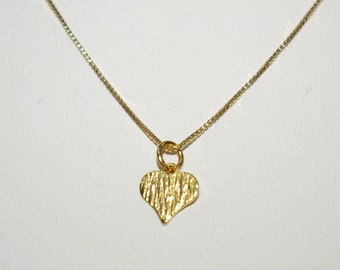 14kt GOLD FILLED Box 012 Chain with very Small HEART Charm Pendant Necklace. Free Shipping Worldwide.