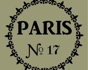 STENCIL Paris Fleur de lis Circle