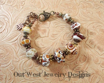 SRAJD Handmade Lampwork Bracelet - Earthtone Spotted Beads, Brass and Copper No. 11