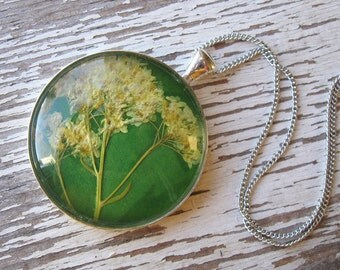 Yellow, Green and Silver Pressed Flower Necklace